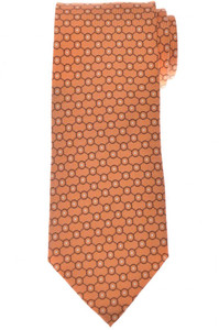 Cesare Attolini Silk Tie 58 1/2 x 3 1/4 Orange Brown Geometric 09TI0176