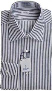 Barba Napoli Dress Shirt Cotton Linen 17 43 Blue White Stripe 11SH0159