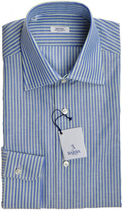 Barba Napoli Dress Shirt Cotton 15 38 Blue Green Stripe 11SH0157