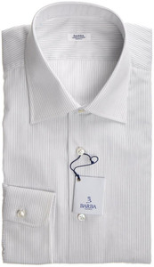 Barba Napoli Dress Shirt Cotton 16 41 White Blue Stripe 11SH0154