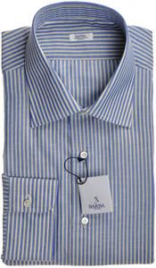 Barba Napoli Dress Shirt Cotton 17 1/2 44 Blue Yellow Stripe 11SH0153