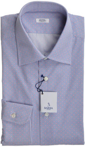 Barba Napoli Dress Shirt Cotton 15 3/4 40 Blue Red Geometric 11SH0147