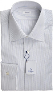 Barba Napoli Dress Shirt Cotton 16 41 White Blue Stripe 11SH0164