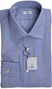 Barba Napoli Dress Shirt Cotton 16 41 Blue White Stripe 11SH0162