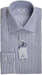 Barba Dress Shirt Superfine Cotton 15 3/4 40 Blue White Stripe 11SH0170