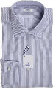Barba Napoli Dress Shirt Cotton 15 3/4 40 Blue White Stripe 11SH0169