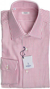 Barba Napoli Dress Shirt Cotton 16 41 Red White Stripe 11SH0168