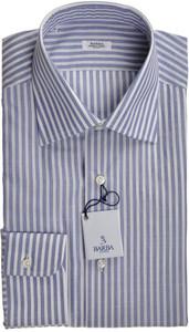 Barba Dress Shirt Superfine Cotton 17 1/2 44 Blue White Stripe 11SH0175