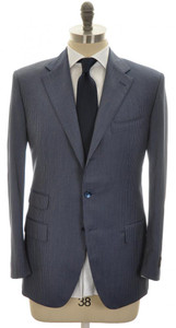 Belvest Suit 3B 110's Wool 42 52 Blue Stripe 50SU0120
