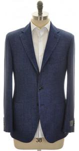 Belvest Sport Coat Jacket 3B Linen Cotton 44 54 Blue 50SC0145