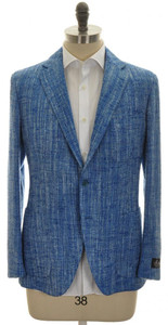 Belvest Sport Coat Jacket 3B Silk Cotton 42 52 Blue Tweed 50SC0156
