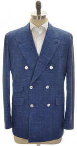 Belvest Sport Coat Jacket DB Wool Silk Linen 46 56 Blue Solid 50SC0160