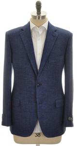 Belvest Sport Coat Jacket 2B Linen Cotton 42 52 Blue Solid 50SC0159