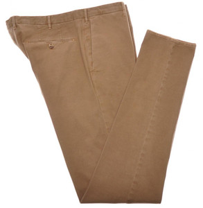 Incotex Dress Pants Cotton Stretch Twill 38 54 Washed Brown 08PT0182