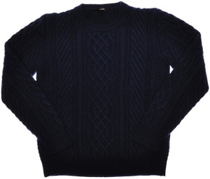 Kiton Sweater 8-Ply Cable Crewneck Regal Cashmere 56 XXLarge Blue 01SW0137