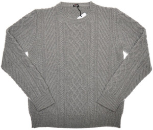 Kiton Sweater 8-Ply Cable Crewneck Regal Cashmere 54 XLarge Gray 01SW0139