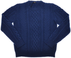 Kiton Sweater 8-Ply Cable Crewneck Regal Cashmere 56 XXLarge Blue 01SW0141