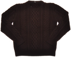 Kiton Sweater 8-Ply Cable Crewneck Regal Cashmere 56 XXLarge Brown 01SW0143