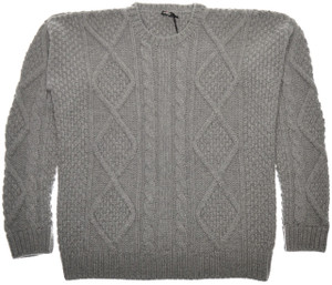 Kiton Sweater 8-Ply Cable Crewneck Regal Cashmere 'Oversized' 50 Medium Gray 01SW0145
