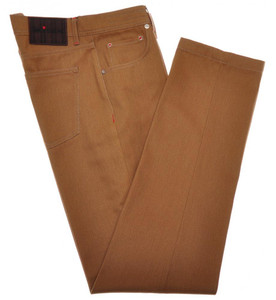 Kiton Jeans 5 Pocket Cotton Textured Twill 34 50 Brown 01JN0398