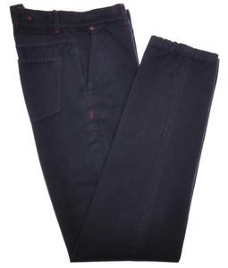 Kiton Luxury Pants Selvedge Cotton 33 49 Washed Blue Herringbone 01PT0137