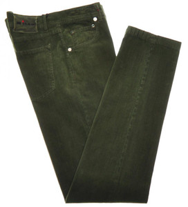 Kiton Jeans 5 Pocket Soft Cotton Stretch Corduroy 34 50 Green 01JN0407