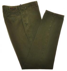 Kiton Luxury Pants Soft Cotton Cashmere Twill 34 50 Washed Green 01PT0141
