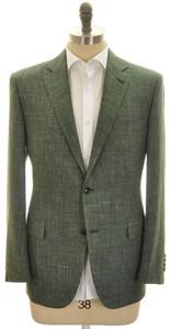 Belvest Sport Coat Jacket 2B Wool Silk Linen 46 56 Green Solid 50SC0176