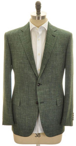 Belvest Sport Coat Jacket 2B Wool Silk Linen 40S 50C Green Solid 50SC0174