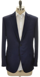 Belvest Sport Coat Jacket 2B 110s Wool 42 52 Blue Solid 50SC0177