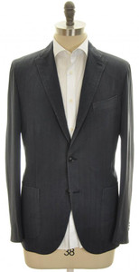 Boglioli 'K Jacket' Sport Coat 3B Wool 40 50 Blue Herringbone 24SC0137