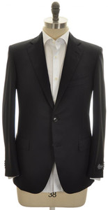 Belvest Sport Coat Jacket 2B 120s Wool 46 56 Black Solid 50SC0192