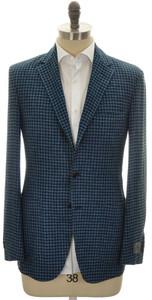 Belvest Sport Coat Jacket 3B Linen Wool Silk 44 54 Blue Check 50SC0189