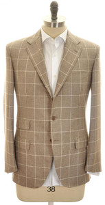 Belvest Sport Coat Jacket 3B Silk Cashmere 44 54 Brown Windowpane 50SC0200