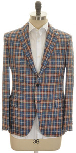 Belvest Sport Coat Jacket 2B Linen Cotton 44 54 Denim-Blue Brown 50SC0225