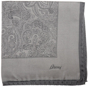Brioni Pocket Square Handmade Silk Satin Gray Paisley 03PS0110