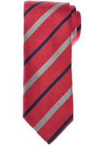Brioni Tie Silk Red Gray Stripe 03TI0617