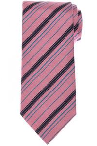 Brioni Tie Silk Pink Blue Stripe 03TI0616