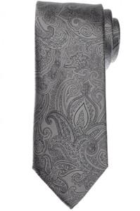 Brioni Tie Silk Satin Gray Black Paisley 03TI0608