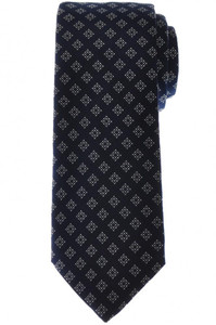 Brioni Tie Silk Navy Blue White Geometric 03TI0605