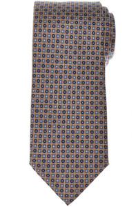 Brioni Tie Silk Brown Blue Geometric 03TI0602