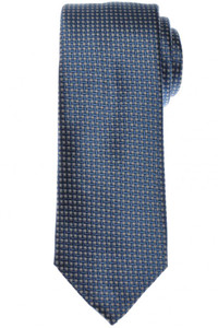 Brioni Tie Silk Blue White Geometric 03TI0597