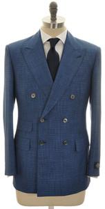 Belvest 3-Piece Suit DB Wool Silk 40 50 Blue Micro Check 50SU0135