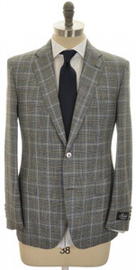 Belvest Suit 2B Wool Silk 40 50 Gray Blue Plaid 50SU0151