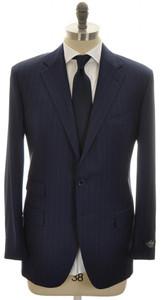 Belvest Suit 3B Wool 110's 46 56 Blue Stripe 50SU0150