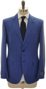 Belvest Suit 2B Wool Silk Blend 42 52 Blue Stripe 50SU0146