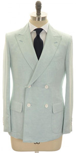 Belvest Suit DB Linen Silk 40 50 Light Blue Solid 50SU0159