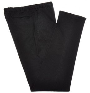 Incotex Casual Dress Pants Washed Cotton Stretch 34 50 Black Solid 28PT0192