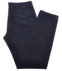 Incotex Dress Pants Washed Cotton Linen 33 49 Blue 08PT0189