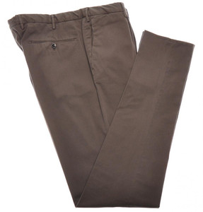 Incotex Dress Pants Washed Cotton Twill 40 56 Brown 08PT0188